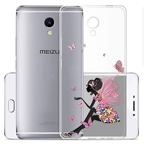 Cover Per Meizu M5S 5,2 pollici,Sunrive® Custodia Case in molle Trasparente TPU silicone Morbida Flessibile Pelle Antigraffio protettiva(tpu Principessa farfalla)