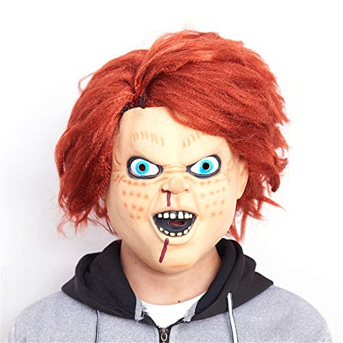NUOKAI Halloween Maske Terrorist Kopfbedeckung Ghost Scary Männer und Frauen Grimasse Masquerade Teufel Latex Clown Maske, Chagie Doll Maske (Doll Scary Masken)