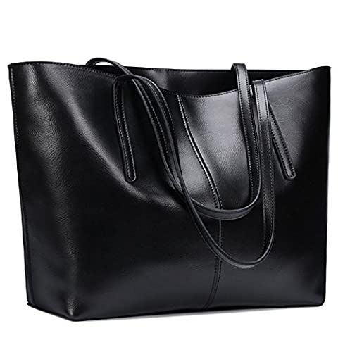 S-ZONE Women's Soft Genuine Leather Tote Handle Shoulder Bag Fit 14 in Laptop