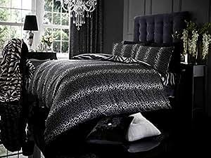 Housse de couette pour lit King Size avec motif Léopard–Gris & Noir