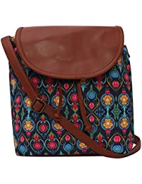 Amit Bags Beautiful Printed Poly Canvas With Pu Flap Sling Bag For Girls / Women,s (multi)