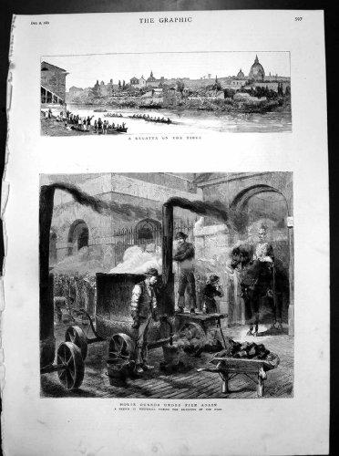 Stampa Antica delle Guardie di Cavallo del Tevere di Regata Whitehall Con Riferimento a Pavimentare Strada 1882
