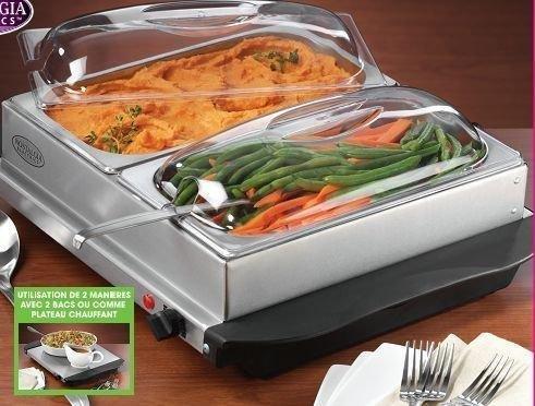 Uzo1 Buffet Server / Food Warming Tray (Stainless Steel / Black / Clear) (7H x 17W x 20D) by UZO1TM