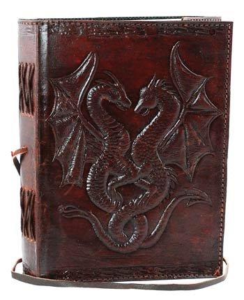 AzureGreen bbbcd57doble dragón blanco libro de piel Cord