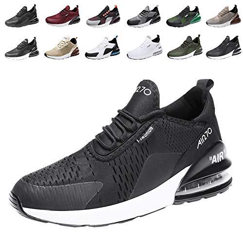 Populalar - scarpe da corsa, da uomo e da donna, scarpe da ginnastica, sneaker traspiranti, per corsa, fitness, palestra, outdoor, leggere., nero (12 bianco e nero), 34 eu