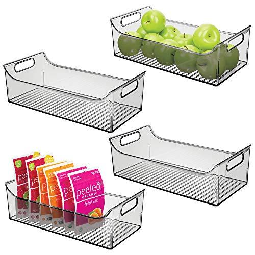 mDesign 4er-Set Aufbewahrungsbox mit Griffen - lange Kühlschrankbox zur Lebensmittelaufbewahrung - Ablage aus Kunststoff für den Küchen- oder Kühlschrank - rauchgrau