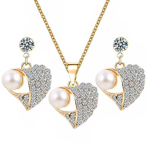 Lovinda Girl Frauen Silber überzogene Halskette Ohrring Set Perle Herz Zirkon Schlüsselbein Kette Ohrring Set Günstige Schmuck-Set für Freundin Dame Geburtstagsgeschenk x 1 Set