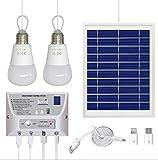 CPDZ Solar-Beleuchtungssystem Tragbares Solar-Energiesystem für Zuhause, einschließlich 2 LED-Lampen, 3 USB-Ports, geeignet für Zuhause und Camping