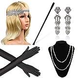 Beelittle 1920er Jahre Zubehör Set für Frauen Flapper Stirnband Perlenkette Handschuhe Zigarettenspitze für große Gatsby Party (M20)