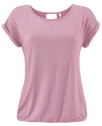 ELFIN Damen T-Shirt Kurzarm Blusen Shirt mit Allover-Minimal Print Lose Stretch Basic Tee - Rosa Bluse Shirt