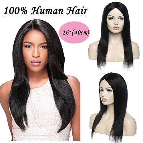 Parrucca donna capelli veri human hair wigs lisci 40cm parrucche brasiliani umani wig straight senza lace 170g nero naturale