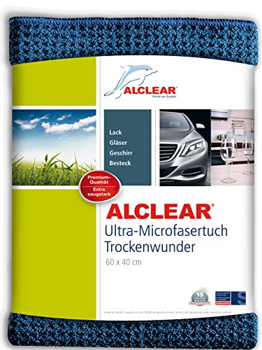 ALCLEAR Auto Microfasertuch Trockenwunder für Autopflege, Autolack, Motorrad, Küche u. Haushalt - Microfaser Geschirrtuch - weiches Trockentuch - 60x40 cm blau