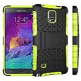 pinlu Custodia per Samsung Galaxy Note 4 (5.7zoll) Smartphone Armatura Rugged Heavy Duty Cover Doppio Strato TPU + PC Antiurto Protettiva Case Pneumatico Modello Verde