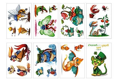 PAMO 8 Sheets Kids Temporäre Tattoos Aufkleber, Verschiedene Tiere Temporäre Tattoos Aufkleber für Kinder Tattoos Aufkleber für Katze/Schlange/Biene/Schildkröte/Eule/Schmetterling (Tattoos Temporäre Kid)