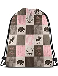 best& 3 Little Lady Quilt - Pink and Brown - Moose, Bear, Antlers - Baby Girl_7559 3D Print Drawstring Backpack…