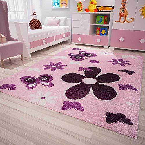Kinderzimmer Teppich Modern Pink Lila Flauschig Blumen Schmetterlinge Konturenschnitt Geprüft von 120x170 cm (Moderne Teppich Blumen)
