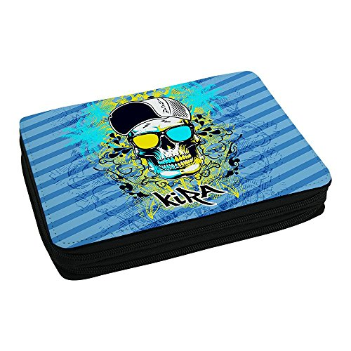 Schul-Mäppchen mit Namen Kira und schönem Motiv mit Totenkopf für Mädchen - Federmappe mit Vornamen - inkl. Stifte, Lineal, Radierer, Spitzer (Sonnenbrille Kira)