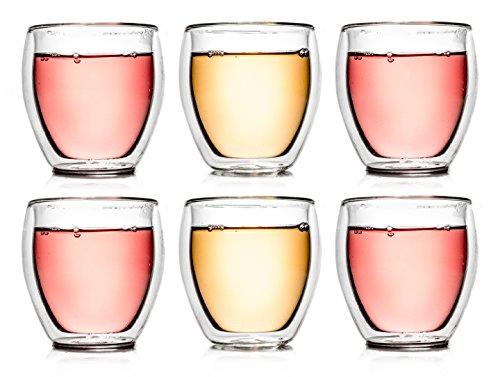 Creano Verre isotherme à double paroi 250ml '''bulbeaux DG'', ensemble de 6, grand verre résistant à la chaleur en verre de borosilicate, tasse à café/de thé