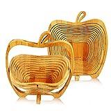 ONEDONE Apple Shaped Bamboo Folding Basket- Collapsible Fruit Stores Flat