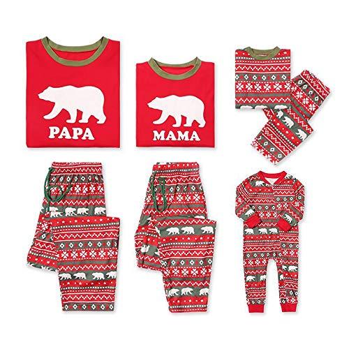 hts-Pyjamas Eltern-Kind-Homewear-Familie passende Bärendruck Langarmshirts Hose Nachtwäsche Set,Men,XL ()