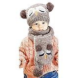 Gorro y bufanda de ganchillo Fulltime (TM)con diseño adorable en lana para bebés y niños Coffee-1