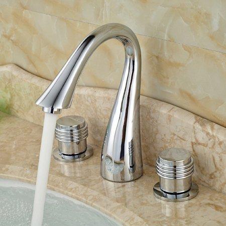 Tourmeler Deck Mount verbreitet 3 Löcher Waschbecken Vessel Sink Faucet Dual Knopf Waschbecken Armaturen Verchromt, Form E Dual Knöpfe