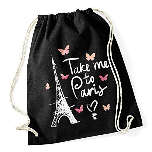 Autiga Turnbeutel Take me to Paris Eiffelturm Hipster Beutel Tasche Jutebeutel Gymsac schwarz unisize