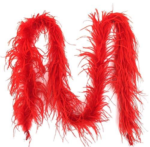 Kostüm Burlesque Party - PANAX Federboa Rot aus echten Straußenfedern in 200cm Länge - Ideal für Fasching, Karneval, Halloween, Tanz- Kostüme, Basteln, Burlesque, Varietee