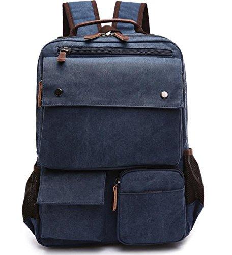 &ZHOU Borsa di tela, Protezione ambientale tela borsa zaino borsa moda casual borsa a tracolla borsa computer borsa da viaggio, unisex , coffee color deep blue