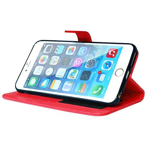 Qiaogle Téléphone Coque - PU Cuir rabat Wallet Housse Case pour Apple iPhone 4 / 4G / 4S (3.5 Pouce) - DK01 / Bleu Classique Mode affaires Style DK04 / Rouge Classique Mode affaires Style