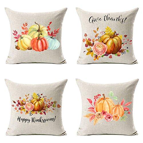 umen Kürbis mit Blätter Thanksgiving Dekorationen Baumwolle Leinen Überwurf Kissenbezug 45,7x 45,7cm Set von 4, Danksagung Geschenke ()