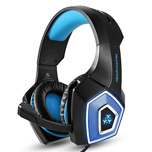Gaming Headset für PS4 Xbox One PC Gaming Kopfhörer mit 7.1 Stereo Surround Sound, Update Noise Cancelling Mikrofon, PS4 Headset Xbox Headset mit Stummschaltung und Lautstärkeregler Blau blau
