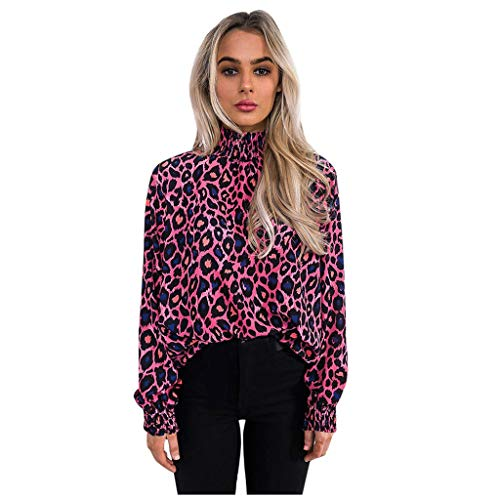 Frauen Leopardenhemd Bluse Tops Langarm Rundhals Pullover Tops T-Shirt Mode lässig Tops Shirt -