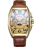 SEWOR Luxury Tourbillon Herren Mondphase automatische mechanische Armbanduhr Lederband Glasbeschichtung blau (Gold)