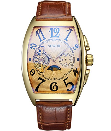 Sewor Luxury Tourbillon Mens Moon Phase Automatic Mechanical Wrist Watch Leather Band Glass Coating Blue (Gold)