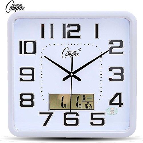 Gyps Horloge murale moderne silencieuse clock Children Wall Clock horloge de mur Art Rustique mur Horloge Horloge murale salon chambre à coucher bureau ultra-silencieux horloges Calendrier Calendrier grande horloge quartz la température et l'humidité, 20 pouces (50,5 cm) de diamètre, blanc minimaliste graphiques liquide unique
