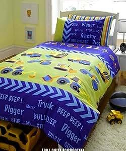 parure de lit housse de couette taie camion tracteur pelleteuse cuisine maison. Black Bedroom Furniture Sets. Home Design Ideas
