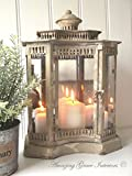 Large French Vintage Style Lantern Candle Holder Shabby Chic Antique Cream