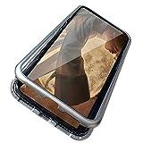 Gypsophilaa iPhone x Coque, Absorption magnétique Pare-Chocs en Métal Antichoc étui Arrière Ultra Slim Magnetic Adsorption Aluminum Alloy Tempered Glass - iphoneX Coque Argent