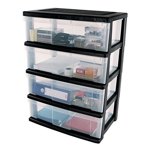 Iris, Schubladenbox \'Wide Chest\', WC-N604, 4 Schubladen, für Werkzeuge, Plastik, Schwarz, 60 x 41 x 89 cm