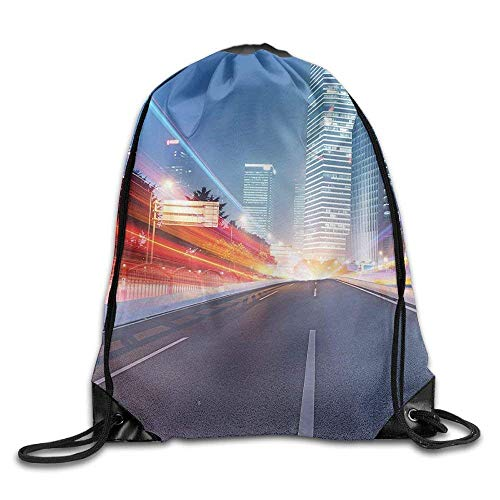 Urban Asphalt Road and Modern Cityscape Illuminated Metropolis Nightlife Buildings Dusk Baseball Backpack