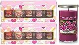 2x lot de bougies Yankee parfumées Cœurs Saint Valentin Votive Cadeau + bougie cylindrique Verveine