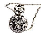 HCFKJ Moda Vintage Retro Bronzo In Quarzo Pocket Watch Collana Ciondolo Catena