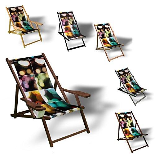 Printalio Mosaik - Liegestuhl Bedruckt Balkon Garten Sonnenliege Relax Holz Terrasse | mit Armlehne,...
