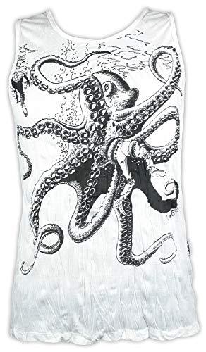 Sure Herren Tank Top - Der Große Kraken Octopus Surfen Oktopus Fischen Tauchen Abnoe Schnorcheln Ärmelfrei Männer Freizeit Kurzarm Muskelshirt (Weiß M)
