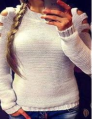 Erica Femme Découpé Normal Pullover Décontracté/Quotidien simple,Couleur Pleine Blanc Gris Col Arrondi Manches Longues Acrylique Automne Hiver