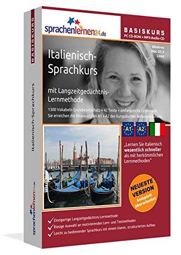 Italienisch-Basiskurs mit Langzeitgedächtnis-Lernmethode von Sprachenlernen24: Lernstufen A1+A2.