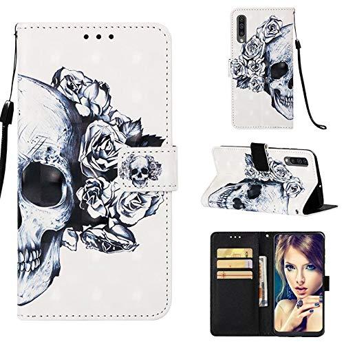 CoverKingz Handyhülle für Samsung Galaxy A50 Handytasche, Flip Case Cover, Schutzhülle mit Kartenfach, Handy Hülle Motiv Totenkopf