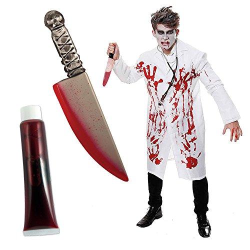 Salveo Médico Blanco Abrigo sangrientas Halloween Horror Disfraz Ramo con Cuchillo sangrientas One Size Cabe Am mayoría