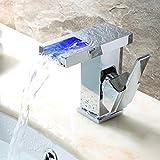 Moderner mit Farbwechsel LED Wasserfall Waschbecken Wasserhahn (verchromt)